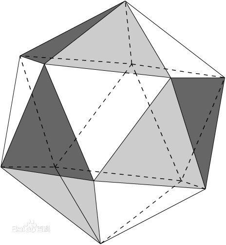 v正二十面体=(15 5√~5)/12×a^3 (其中a为棱长,下同) 接正十二面体