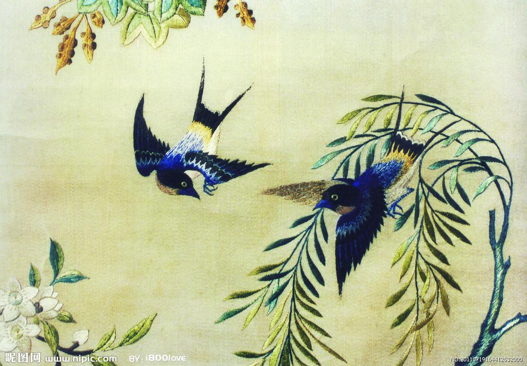 刺绣所用图案,与绘画有密切关系