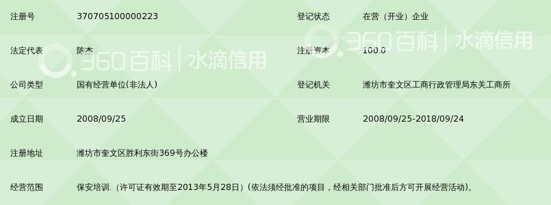 潍坊市保安服务总公司鸢盾保安培训中心_360