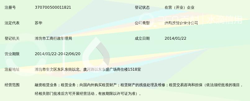 山东创盛融资租赁有限公司潍坊分公司_360百