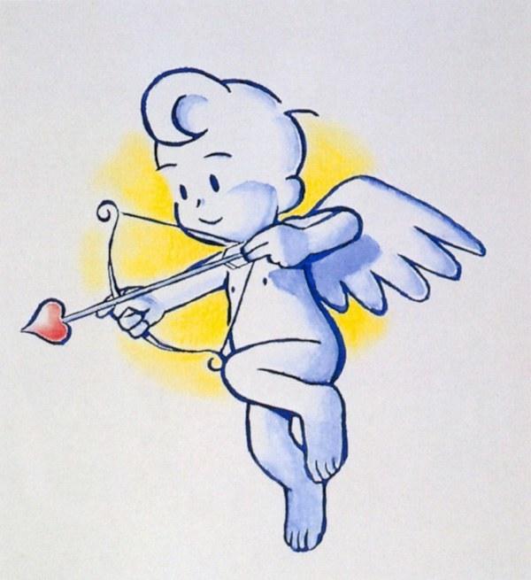 丘比特有一把弓箭,有红色爱心的那把箭射中了男生和