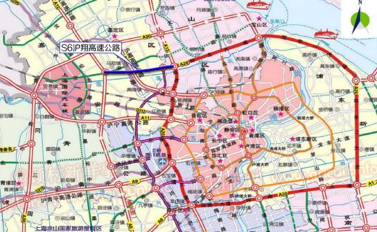 s6西起国家高速g15沈海高速公路,东至沪高速s20外环高速公路,全线采用