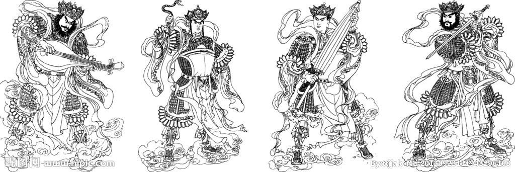 腹有一山,名犍陀罗山,山有四山头,个住一山个护一天下(四大部洲,即东胜神州、南瞻部洲(中国在此洲)、西牛贺洲、北俱芦洲)故又称护世四天王,是六欲天之第一,(佛教把世界分位依次上升的欲界、色界、无色界三界世间一切有情众生皆在三界中轮回不已,只有达到涅盘境界成佛,才能跳出三界外,不受轮回之苦,欲界又有六天,称六欲天,为天神所居。六欲天又有六重,第一重天是四天王天,为四天王及他们的随从的住所)。 东方持国天王:梵文:Dhritarastra。持国意为慈悲为怀,保护众生,护持国土,故名持国天王
